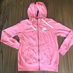 Nike lightweight hooded full zip jacket coral
